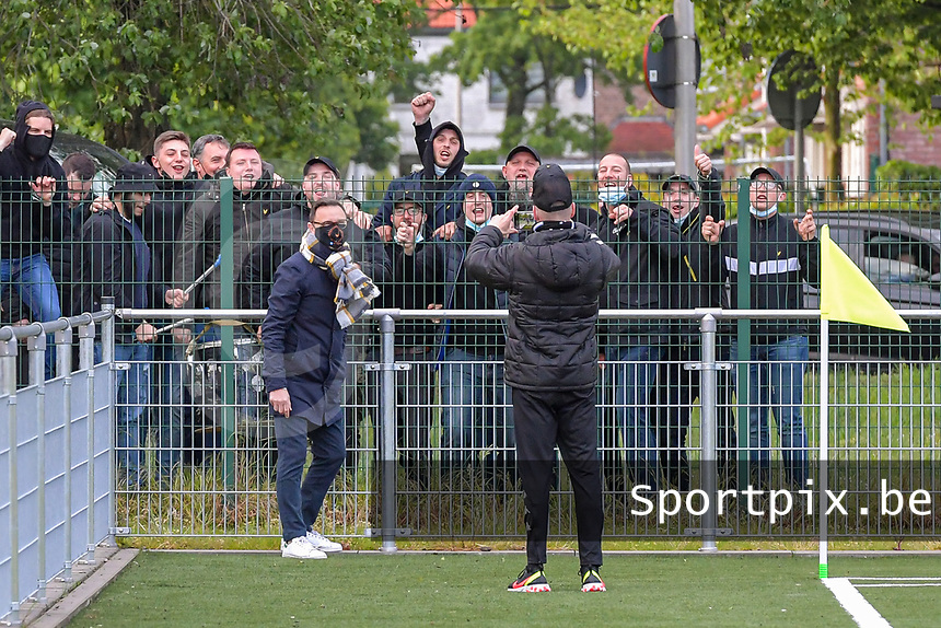 head coach Philippe Venturoso of Charleroi poses in front of the supporters before a female soccer game between Sporting Charleroi and Eendracht Aalst on the 8th matchday in play off 2 of the 2020 - 2021 season of Belgian Scooore Womens Super League , tuesday 18 th of May 2021 in Marcinelle , Belgium . PHOTO SPORTPIX.BE | SPP | STIJN AUDOOREN