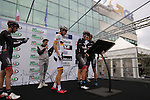 Bora-Argon 18 team riders sign on for the start of the 2015 96th Milan-Turin 186km race starting at San Giuliano Milanese, Italy. 1st October 2015.<br /> Picture: Eoin Clarke | Newsfile