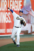 Garrett Gould #36 of the Rancho Cucamonga Quakes warms up before pitching against the Inland Empire 66'ers at The Epicenter on April 7, 2012 in Rancho Cucamonga,California. Rancho Cucamonga defeated Inland Empire 5-4.(Larry Goren/Four Seam Images)
