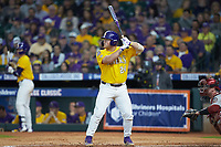 Cade Beloso (24) of the LSU Tigers at bat against the Oklahoma Sooners in game seven of the 2020 Shriners Hospitals for Children College Classic at Minute Maid Park on March 1, 2020 in Houston, Texas. The Sooners defeated the Tigers 1-0. (Brian Westerholt/Four Seam Images)