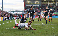 Saturday 18th January 2020 | Ulster vs Bath<br /> <br /> Rob Baloucoune scores Ulster's second try during the Heineken Champions Cup Pool 3 Round 6 match between Ulster Rugby and Bath Rugby at Kingspan Stadium, Ravenhill Park, Belfast, Northern Ireland. Photo by John Dickson / DICKSONDIGITAL