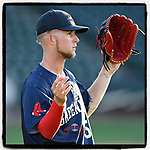 Outfielder Cole Brannen (5) of the Greenville Drive, No. 6 #RedSox prospect and 2nd Round draft pick, warms up during a preseason workout on Tuesday, April 3, 2018, at Fluor Field at the West End in Greenville, South Carolina. (Tom Priddy/Four Seam Images)