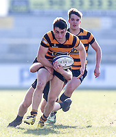 SCF2016 - RBAI vs Campbell College | Thursday 17th March 2016<br /> <br /> Conor Field is tackled by Jack Howard during the Ulster Schools Cup Final between RBAI and Campbell College at Kingspan Stadium, Ravenhill Park, Belfast, Northern Ireland. Photo credit: John Dickson / DICKSONDIGITAL