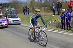Angel Madrazo (ESP) Movistar Team takes up the rear of the peloton as they climb Cote de la Roche-en-Ardenne during the 98th edition of Liege-Bastogne-Liege, running 257.5km from Liege to Ans, Belgium. 22nd April 2012.  <br /> (Photo by Eoin Clarke/NEWSFILE).