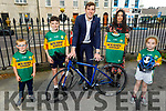 Kerry footballer David Moran presenting jerseys to the Lets Get Kerry Cycling competition winners sponsored by the Kerry Sports and Recreation Kerry County Council on Tuesday. L to r: Odhran O'Sullivan (Killarney), Aaron Horgan (Lixnaw), David Moran, Sandra Caffery (Lixnaw) and Niamh O'Brien (Kilflynn)