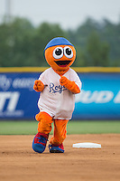 """Burlington Royals mascot """"Bingo"""" runs the bases between innings of the game against the Bluefield Blue Jays at Burlington Athletic Park on July 1, 2015 in Burlington, North Carolina.  The Royals defeated the Blue Jays 5-4. (Brian Westerholt/Four Seam Images)"""