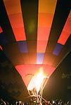 Flames fill Hot Air Balloons at Night