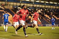 Yann Songo'o of Morecambe starts to celebrate his goal during Colchester United vs Morecambe, Sky Bet EFL League 2 Football at the JobServe Community Stadium on 19th December 2020