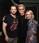 """Alex Brightman, Billy Idol and Sophia Anne Caruso backstage at """"Beetlejuice The Musical"""" on Broadway at the Winter Garden Theatre on July 30, 2019 in New York City."""