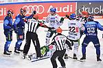 Michael Clarke (Nr.44 - Augsburger Panther) am Boden, Fabio Wagner (Nr.5 - ERC Ingolstadt), Emil Quaas (Nr.20 - ERC Ingolstadt), Adam Payerl (Nr.11 - Augsburger Panther), Scott Valentine (Nr.22 - Augsburger Panther) und Tim Wohlgemuth (Nr.33 - ERC Ingolstadt) beim Spiel in der Gruppe Sued der DEL, ERC Ingolstadt (dunkel) - Augsburger Panther (hell).<br /> <br /> Foto © PIX-Sportfotos *** Foto ist honorarpflichtig! *** Auf Anfrage in hoeherer Qualitaet/Aufloesung. Belegexemplar erbeten. Veroeffentlichung ausschliesslich fuer journalistisch-publizistische Zwecke. For editorial use only.
