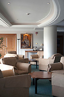 A members area in the Centre Court building at Wimbledon, The All England Lawn Tennis Club (AELTC), London...