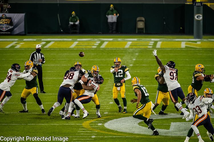 Green Bay Packers against the Chicago Bears during a regular season game at Lambeau Field in Green Bay on Sunday, November 29, 2020.