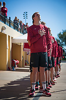 STANFORD, CA - February 17, 2018: Liam Egan at Avery Aquatic Center. The Stanford Cardinal defeated the California Golden Bears 151-149 on Senior Day.