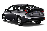 Car pictures of rear three quarter view of 2019 Toyota Prius LE 5 Door Hatchback Angular Rear