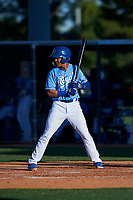 AZL Royals Enrique Valdez (4) at bat during an Arizona League game against the AZL Brewers Blue at Surprise Stadium on June 18, 2019 in Surprise, Arizona. AZL Royals defeated AZL Brewers Blue 12-7. (Zachary Lucy/Four Seam Images)