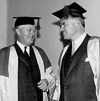 Lesage and Robarts: Two premiers, Ontario's John Robarts, right, and Quebec's Jean Lesage, get together at a University of Toronto ceremony in 1962. Lesage was then one of the best-known Quebecers outside his province.<br /> <br /> 1962<br /> <br /> PHOTO :  Dick Darrell - Toronto Star Archives - AQP