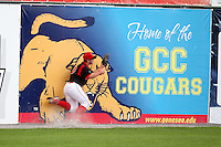 Batavia Muckdogs outfielder Chris Edmondson crashes into the wall to catch a fly ball during a game vs. the Auburn Doubledays at Dwyer Stadium in Batavia, New York September 5, 2010.   Batavia defeated Auburn 7-0 in the regular season finale.  Photo By Mike Janes/Four Seam Images