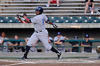 Third baseman Daniel Mateo (16) of the Wilmington Blue Rocks bats in a game against the Lynchburg Hillcats on Tuesday, June 25, 2013, at Calvin Falwell Field in Lynchburg, Virginia. Lynchburg won, 3-2. (Tom Priddy/Four Seam Images)