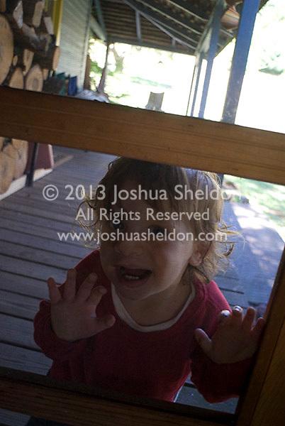 Baby boy looking through screen door