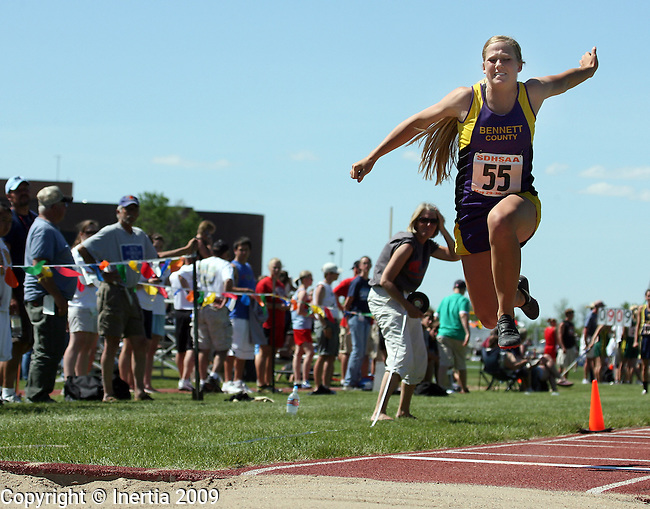 SPEARFISH, SD - May 29: Amy O'Neill of Bennett County leaps during the finals of the triple jump Friday at the Class A State Track Meet in Spearfish. (Photo by Dave Eggen/Inertia)