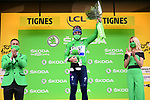 Mark Cavendish (GBR) Deceuninck-Quick Step retains the points Green Jersey at the end of Stage 9 of the 2021 Tour de France, running 150.8km from Cluses to Tignes, France. 4th July 2021.  <br /> Picture: A.S.O./Pauline Ballet   Cyclefile<br /> <br /> All photos usage must carry mandatory copyright credit (© Cyclefile   A.S.O./Pauline Ballet)