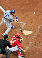 24 April 2010: Los Angeles Dodgers' catcher Russell Martin at bat against the Washington Nationals at Nationals Park in Washington, DC. The Dodgers edged out the Nationals 4-3. Mandatory Credit: Ed Wolfstein Photo