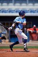 Charlotte Stone Crabs shortstop Jake Cronenworth (2) follows through on a swing during a game against the Palm Beach Cardinals on April 12, 2017 at Charlotte Sports Park in Port Charlotte, Florida.  Palm Beach defeated Charlotte 8-7.  (Mike Janes/Four Seam Images)