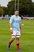 Lewis Wynne of London Scottish warms up during the Championship Cup match between London Scottish Football Club and Nottingham Rugby at Richmond Athletic Ground, Richmond, United Kingdom on 28 September 2019. Photo by Carlton Myrie / PRiME Media Images