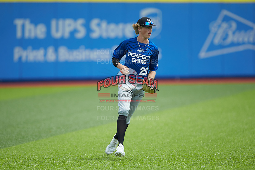 Left fielder Parker Cato (29) of Heritage High School in Wake Forest, NC fields the ball during the Atlantic Coast Prospect Showcase hosted by Perfect Game at Truist Point on August 22, 2020 in High Point, NC. (Brian Westerholt/Four Seam Images)
