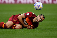 Football, Serie A: AS Roma - Atalanta Olympic stadium, Rome, April 22, 2021. <br /> Roma's Heinrikh Mkhitaryan reacts during the Italian Serie A football match between AS Roma and Atalanta at Rome's Olympic stadium, Rome, on April 22, 2021.  <br /> UPDATE IMAGES PRESS/Isabella Bonotto