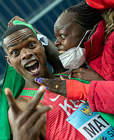 2nd May 2021; Silesian Stadium, Chorzow, Poland; World Athletics Relays 2021. Day 2; Matthew of Kenya celebrates into camera after winning silver in the mens 4 x 200