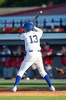 Angelo Castellanos (13) of the Burlington Royals at bat against the Danville Braves at Burlington Athletic Park on July 5, 2014 in Burlington, North Carolina.  The Royals defeated the Braves 5-4.  (Brian Westerholt/Four Seam Images)