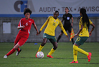 20190301 - LARNACA , CYPRUS : South African midfielder Nompumelelo Nyandeni (middle) pictured during a women's soccer game between South Africa and Korea DPR , on Friday 1 March 2019 at the AEK Arena in Larnaca , Cyprus . This is the second game in group A for Both teams during the Cyprus Womens Cup 2019 , a prestigious women soccer tournament as a preparation on the Uefa Women's Euro 2021 qualification duels. PHOTO SPORTPIX.BE   STIJN AUDOOREN