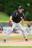 Syracuse Chiefs starting pitcher Zach Duke (23) in action against the Charlotte Knights at Knights Stadium on August 29, 2012 in Fort Mill, South Carolina.  (Brian Westerholt/Four Seam Images)