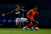 23rd February 2021; Kenilworth Road, Luton, Bedfordshire, England; English Football League Championship Football, Luton Town versus Millwall; George Evans of Millwall challenges Thomas Ince of Luton Town