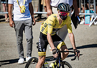 Adam Yates (GBR/Mitchelton-Scott) as the new yellow jersey / GC leader at the race start in Le Teil<br /> <br /> Stage 6 from Le Teil to Mont Aigoual (191km)<br /> <br /> 107th Tour de France 2020 (2.UWT)<br /> (the 'postponed edition' held in september)<br /> <br /> ©kramon