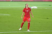 YOKOHAMA, JAPAN - AUGUST 6: Jessie Fleming #17 of Canada reacts during a game between Canada and Sweden at International Stadium Yokohama on August 6, 2021 in Yokohama, Japan.