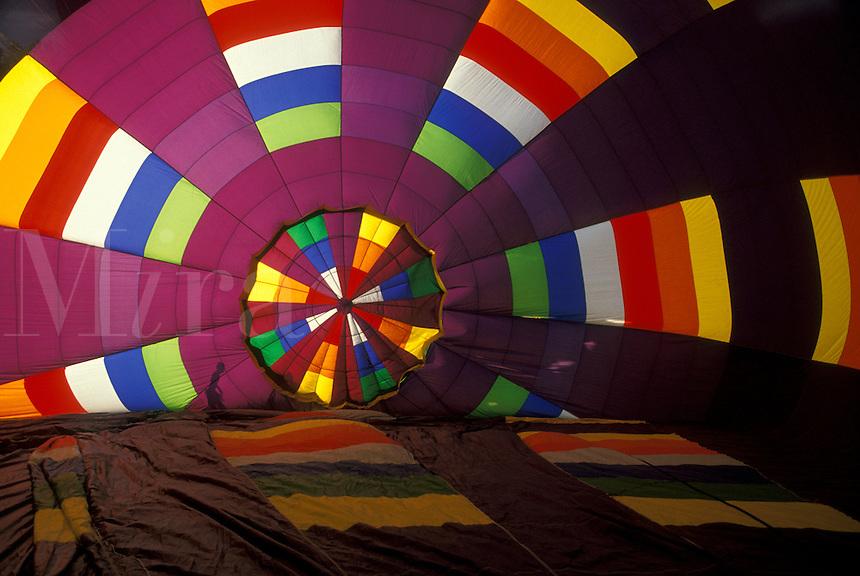 AJ2129, hot air balloon, Atlanta, Georgia, Atlanta, Inside view of a colorful hot air balloon at the Pro-Celebrity Balloon Race at the Dogwood Festival in Atlanta.