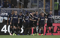 Calcio, Serie A: SS Lazio vs Internazionale Milano, Olympic stadium, Rome, October 29, 2018.<br /> Inter's Marcelo Brozovic (c) celebrates after scoring with his teammates during the Italian Serie A football match between SS Lazio and Inter Milan at Rome's Olympic stadium, on October 29, 2018.<br /> UPDATE IMAGES PRESS/Isabella Bonotto