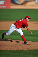 Auburn Doubledays pitcher Kevin Mooney (33) delivers a pitch during a game against the Batavia Muckdogs on September 7, 2015 at Falcon Park in Auburn, New York.  Auburn defeated Batavia 11-10 in ten innings.  (Mike Janes/Four Seam Images)