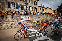 29th August 2020, Nice, France;  Illustration picture of the breakaway of the day with fans in the background during stage 1 of the 107th edition of the 2020 Tour de France cycling race, a stage of 156 kms with start in Nice Moyen Pays and finish in Nice