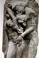 "India:  an Amorous Couple, 11th Century.  ""A motif found in Indian art...from at least 2nd C.  A.D.""  Increasing intimacy; finally, in medieval period, on Temple walls, sexual intercourse. The sexual is sacred. Pramod Chandra, THE SCULPTURE OF INDIA."