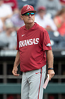 Arkansas Razorbacks head coach Dave Van Horn before Game 5 of the NCAA College World Series against the Texas Tech Red Raiders on June 17, 2019 at TD Ameritrade Park in Omaha, Nebraska. Texas Tech defeated Arkansas 5-4. (Andrew Woolley/Four Seam Images)