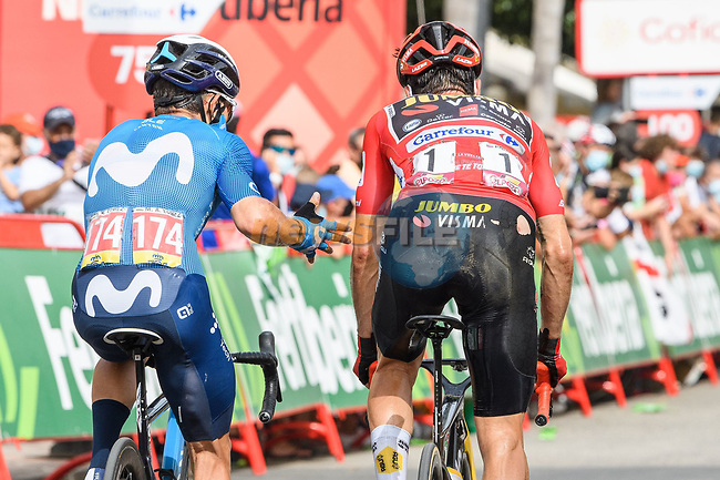 Miguel Angel lopez Moreno (COL) Movistar Team and Red Jersey Primoz Roglic (SLO) Jumbo-Visma cross the finish line at the end of Stage 10 of La Vuelta d'Espana 2021, running 189km from Roquetas de Mar to Rincón de la Victoria, Spain. 24th August 2021.     <br /> Picture: Cxcling   Cyclefile<br /> <br /> All photos usage must carry mandatory copyright credit (© Cyclefile   Cxcling)