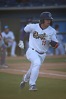 Jonny DeLuca (15) of the Rancho Cucamonga Quakes runs to first base during a game against the Stockton Ports at LoanMart Field on May 26, 2021 in Rancho Cucamonga, California. (Larry Goren/Four Seam Images)
