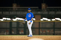 AZL Cubs shortstop Delvin Zinn (21) on defense against the AZL Giants on September 5, 2017 at Scottsdale Stadium in Scottsdale, Arizona. AZL Cubs defeated the AZL Giants 10-4 to take a 1-0 lead in the Arizona League Championship Series. (Zachary Lucy/Four Seam Images)