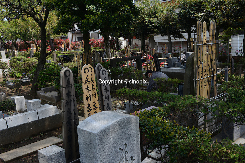 Female worker cleans up the graveyard.<br /> <br /> Individual graves for lost loved pets. Gravestones are designed with thoughts.<br /> <br /> Jikeiin is the biggest pet graveyard in western suburb of Tokyo.  This has founded in 1921 and 13000m2 land space.  They have 16 cremation machine which can cremate from small animal like turtle or birds to big animals like tigers and bears.  They provide buddism style funeral ceremony and graves to pet owners who have lost their loved pets.  Jikeiin is the non-sectarian temple.