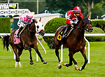 July 31, 2021: Noble Conquest #6, ridden by jockey Manny Franco wins a maiden claiming race on the turf on the Jim Dandy Stakes undercard at Saratoga Race Course in Saratoga Springs, N.Y. on July 31, 2021. Dan Heary/Eclipse Sportswire/CSM