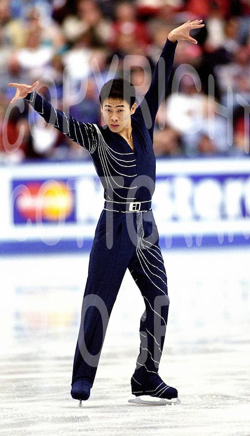 Cheng Jiang Li of China competes at  Skate Canada. Photo copyright Scott Grant.