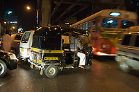 Mumbai traffic at night, central Mumbai India,